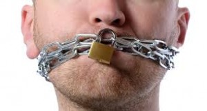 Image showing man with padlock on mouth